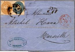 120 1864 - 15 Soldi Bruno, 10 Soldi Azzurro (45,44) Perfetti, Su Sovracoperta Di Lettera Da Verona 29/9/... - Lombardy-Venetia