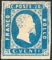 692 1851 - 20 Cent. Azzurro Chiaro (2f), Impercettibile Piega Verticale E Lieve Assottigliamento, Nuovo ... - Sardinia
