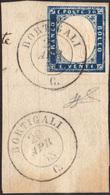 764 BORTIGALI, Punti 12 - 20 Cent. Indaco (15AG), Perfetto, Usato Su Frammento Il 20/4/1858. Molto Bello... - Sardinia