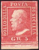 804 1859 - 5 Grana Rosa Carminio, I Tavola (9), Bordo Di Folgio In Basso, Nuovo Senza Gomma, Perfetto. S... - Sicily