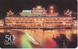 TARJETA DE GLOBALONE DEL RESTAURANTE FLOTANTE JUMBO EN HONG KONG EXPIRES 03/98 - Phonecards