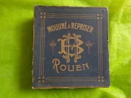 Rare Grande Boite Carton- Vide -mouline A Reprisser BM Rouen Decoration Vitrine Ou Autre 23x25x8cm - Publicité