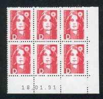 Coin Daté M BRIAT D Rouge 18/01/91 N**  F147 - 1990-1999