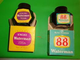 2  Flacons Avec Boites Encre Violette Vide-bleu Floride Presque Pleine WATERMAN - Autres Collections