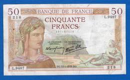 50  Fr  Du  12/1/1939  Dans  L'etat - 1871-1952 Anciens Francs Circulés Au XXème