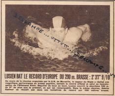 NATATION : PHOTO, MAURICE LUSIEN BAT LE RECORD D' EUROPE DU 200 M. BRASSE A MARSEILLE, COUPURE REVUE (1950) - Swimming