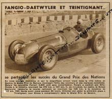 AUTOMOBILE : PHOTO, FANGIO, DAETWYLER, TRINTIGNANT,  GRAND PRIX NATIONS, GENEVE, ALFA-ROMEO, SIMCA, COUPURE REVUE (1950) - Car Racing - F1