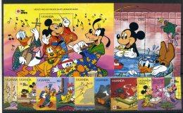 A26850)Disney: Uganda 912- 919** + Bl 138** + 139** - Disney