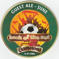UNUSED - CAMERONS BREWERY (HARTLEPOOL, ENGLAND) - BACK OF THE NET - PUMP CLIP FRONT - Signs