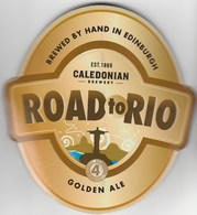 CALEDONIAN BREWERY (EDINBURGH, SCOTLAND) - ROAD TO RIO - CURVED PUMP CLIP FRONT - Signs