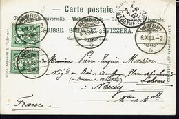 "SUISSE - 1903 - Paire N° 66, Correspondance De Rheinfelden Vers Nancy, Sur CPA ""Gruss Aus Rheinfelden, Ensel"" B/TB - - 1882-1906 Wappen, Stehende Helvetia & UPU"