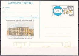ITALIA REPUBBLICA CARTOLINA POSTALE FEDERAZIONE FRA LE SOCIETA FILATELICHE ITALIANE IMOLA ANNO 1989 - 6. 1946-.. Repubblica