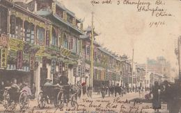CPA SHANGHAI- NANKING ROOD, STREET, HORSE CARRIAGE, RICKSHAW - Chine
