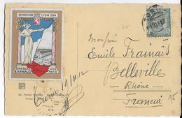 1913 - VIGNETTE EXPO De LYON 1914 Sur CARTE De TORINO => BELLEVILLE - Erinnophilie