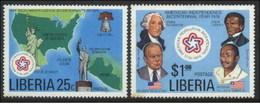 1976 Liberia Bicentenary Of American Revolution, US Independence (2v) MNH (M-26) - Liberia