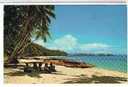 FIDJI   - PLAGE  ET CANOE     4TIMBRES   BE - Fidji