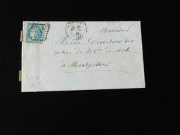 LETTRE DE GRENOBLE POUR MONTPELLIER  -  1871  -  AVEC OBLITERATION LOSANGE 1716 - Marcophilie (Lettres)