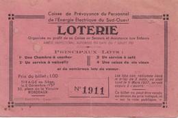 LOTERIE ,,,,CAISSE De PREVOYANCE Du PERSONNEL De L' ENERGIE ELECTRIQUE Du SUD OUEST,,N° 1911,,, - Billets De Loterie