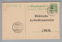 Motiv Bier Ganzsache 1911-02-19 Arosa GS Mit Privatzudruck Rhätische Actienbrauereien - Alimentation