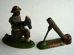 RARE FIGURINE QUIRALU  SOLDAT ANGLAIS AVEC MORTIER TABOR GOUMIER - ALUMINIUM SOLDAT (2) - Quiralu