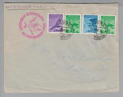 Liechtenstein Flugpost 1936-06-29 Mauren  Hindenburg Olympiafahrt Gute Frankatur - Liechtenstein