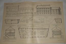 Plan D'une Crèche, Avenue De Bétheny à Reims Dans La Marne. M. A. Gosset, Architecte. 1902 - Travaux Publics
