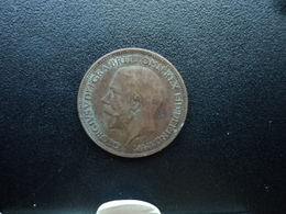 ROYAUME UNI : 1 FARTHING  1919   KM 808.2     TB+ - 1902-1971 : Monete Post-Vittoriane