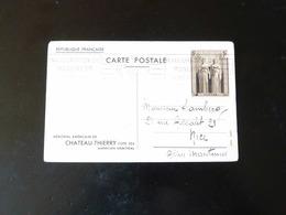 ENTIER POSTAL  1 F    -  SUR CARTE MEMORIAL AMERICAIN DE CHATEAU THIERRY - Entiers Postaux