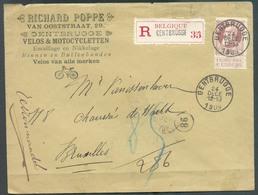 N°77 - 35 Centimes Grosse Barbe, Obl. Sc GENTBRUGGE Sur Lettre Recommandée (Richard POPPE Van Ooststraat VELOS & MOTOCYC - 1905 Grosse Barbe