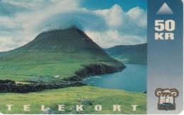TARJETA DE LAS FEROE DE 50 KR DE UN PAISAJE - Faroe Islands