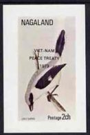 22370 Nagaland 1973 Grey Shrike Imperf Souvenir Sheet (2ch Value) Opt'd Viet-Nam Peace Treaty 1973, U/m (war Birds) - Inde