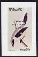 22370 Nagaland 1973 Grey Shrike Imperf Souvenir Sheet (2ch Value) Opt'd Viet-Nam Peace Treaty 1973, U/m (war Birds) - India