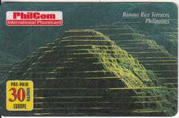 PHILIPPINES - Banaue Rice Terraces, PhilCom Prepaid Card 30 Units, Exp.date 31/07/98, Used - Philippines