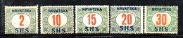 861 490 - YUGOSLAVIA 1918 , Emissione Per La Croazia Segnatasse : Cinque Piccoli Valori  *  Linguella - Nuovi