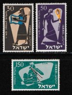 ISRAEL, 1956, Mint Never Hinged Stamp(s), Jewish New Year,  SG 131-133, Scan 17032,  No Tabs - Israel