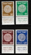 ISRAEL, 1954, Mint Never Hinged Stamp(s), Coins,   SG 90-93,  Scan 17010,  With Tab(s) - Ongebruikt (met Tabs)