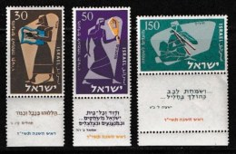 ISRAEL, 1956, Mint Never Hinged Stamp(s), Jewish New Year,  SG 131-133,  Scan 17031, With Tab(s) - Israel