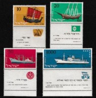 ISRAEL, 1958, Mint Never Hinged Stamp(s), Ships,  SG 143-146,  Scan 17038, With Tab(s) - Israel