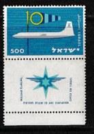 ISRAEL, 1959, Mint Never Hinged Stamp(s), Civil Aviation,  SG 165,  Scan 17049, With Tab(s) - Ongebruikt (met Tabs)