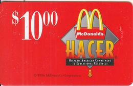 "USA - McDonald""s, Hacer Prepaid Card $10, Used - Sonstige"