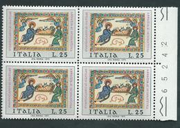 Italia 1971; Natale Da Lire 25; Quartina Con Il Numero Del Foglio. - 6. 1946-.. Repubblica
