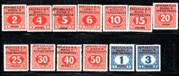YUG2A - YUGOSLAVIA 1918, Segnatasse Unificato N. 9/21 Nuova  * - 1919-1929 Regno Dei Serbi, Croati E Sloveni