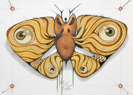 Tecnica Mista Su Carta. Farfalla Immaginaria - Other Collections