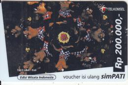 INDONESIA - Tari Kecak/Bal, Telkomsel Prepaid Card Rp 200000(plastic), Exp.date 31/12/00, Used - Indonesia