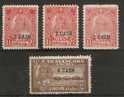 INDIA - TRAVANCORE 1943 VALUES TO  40ca ON ¾ch SG 73, 73e, 73f, 74 MOUNTED MINT Cat £10.40 - Travancore