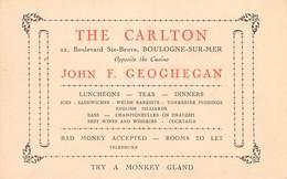 62 BOULOGNE Sur MER - Carte Publicitaire, THE CARLTON, John Geoghegan, 22 Boulevard Ste Beuve, Boulogne - 12 Cm X 7.5 Cm - Boulogne Sur Mer
