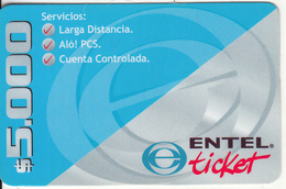 CHILE - ENTEL Prepaid Card $5000, Exp.date 30/06/01, Used - Chile