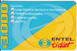 CHILE - ENTEL Prepaid Card $3000, Exp.date 30/03/02, Used - Chile