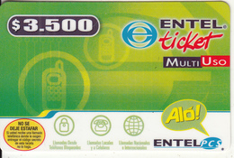CHILE - ENTEL Prepaid Card $3500(thick), Exp.date 30/09/04, Used - Chili