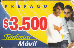 CHILE - Couple, Telefonica Prepaid Card $3500, Exp.date 16/04/04, Used - Chili
